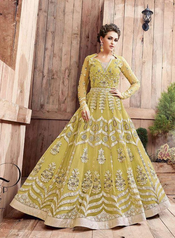 Light Green designer embroidered gown style anarkali suit