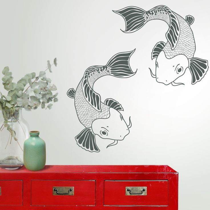 Vinilo decorativo Carpas Japonesas.  Imprime carácter oriental a tus paredes con el vinilo carpas japonesas.
