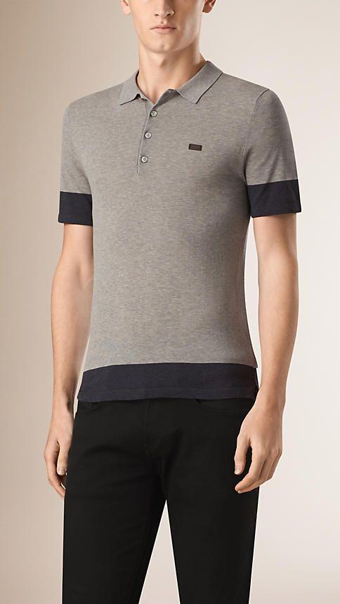 Cinza claro mesclado Camisa polo de algodão em dois tons Cinza Claro Mesclado - Imagem 1