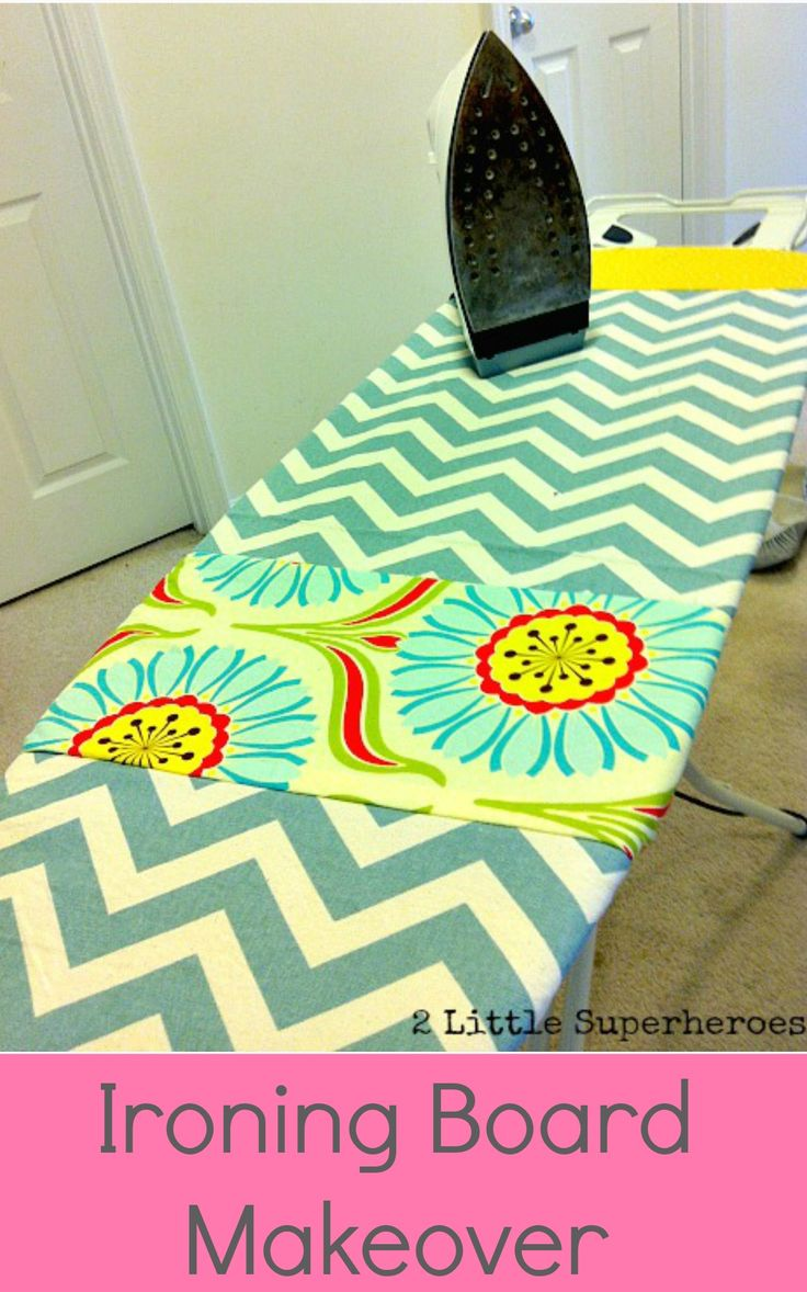 Use your scraps of fabric to make a new cover for your ironing board (1 yard of fabric in total needed). #SimpleIroningBoardCover