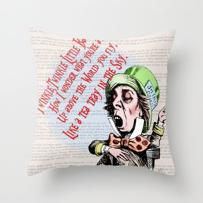 Mad Hatter 2 - Twinkle Twinkle Little Bat Poem / Alice in Wonderland Throw Pillow by Particularly Peculiar - $20.00  #hatter #madhatter #alice #aliceinwonderland #clothes #top #designer #fun