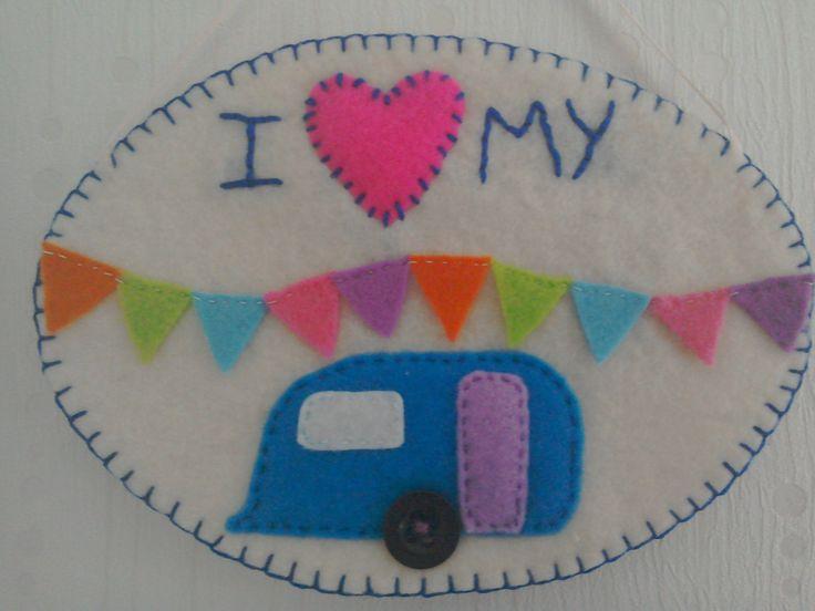 I love my caravan decoration, caravan ornament, caravan lovers gift, birthday gift, travellers gift, felt decoration, holiday lovers gift by TheCraftingGardener on Etsy
