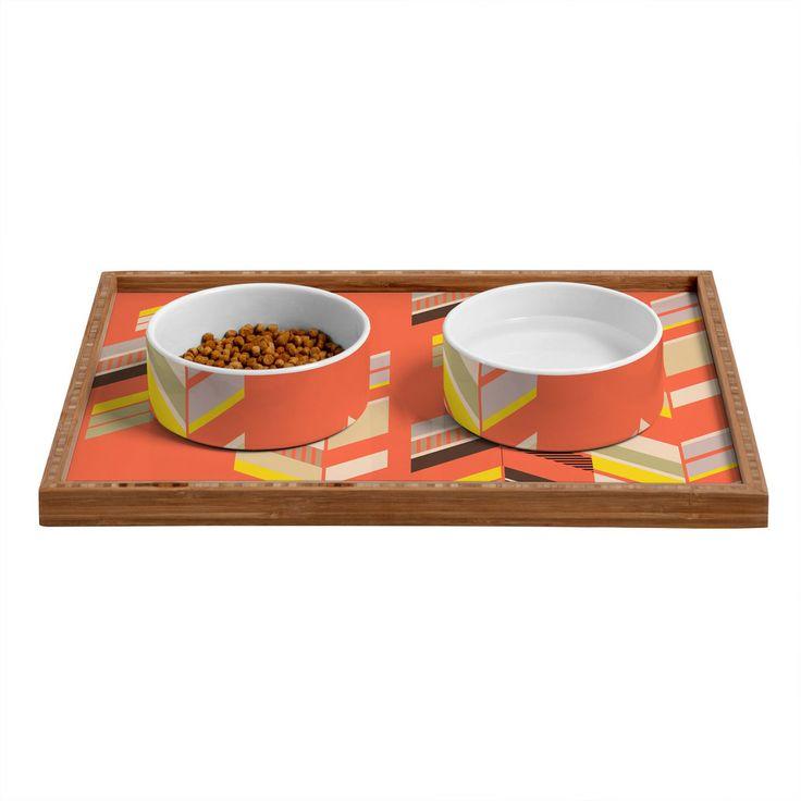 Gabi Chevron Coral Pet Bowl and Tray   DENY Designs Home Accessories