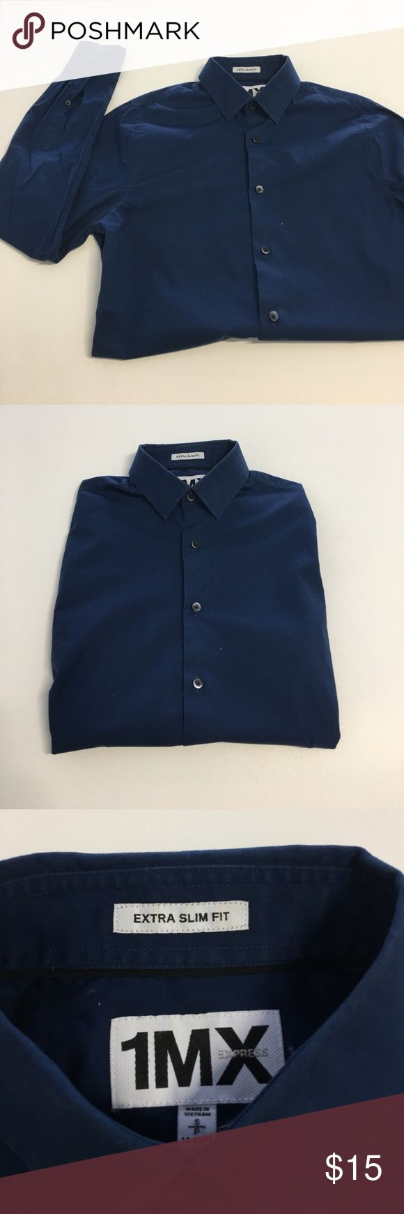 Express Navy Blue LONG SLEEVE dress shirt Perfect Slim-fit style. Navy Blue Long sleeve Dress shirt Express Shirts Dress Shirts