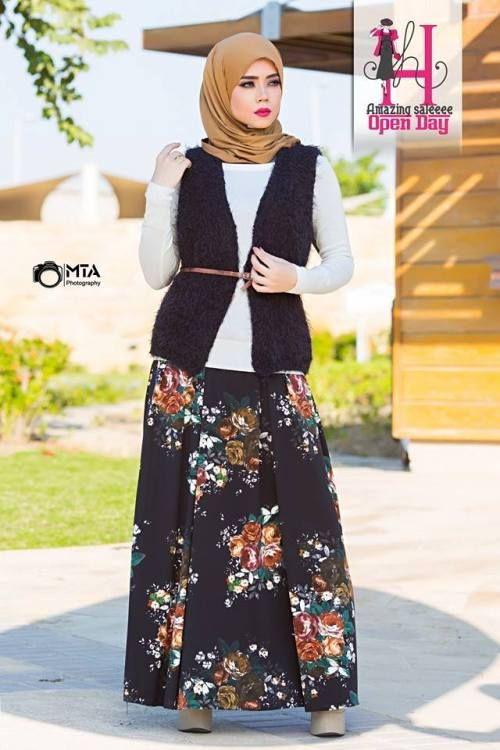 floral skirt hijab look, Winter hijab designs by amazing store http://www.justtrendygirls.com/winter-hijab-designs-by-amazing-store/