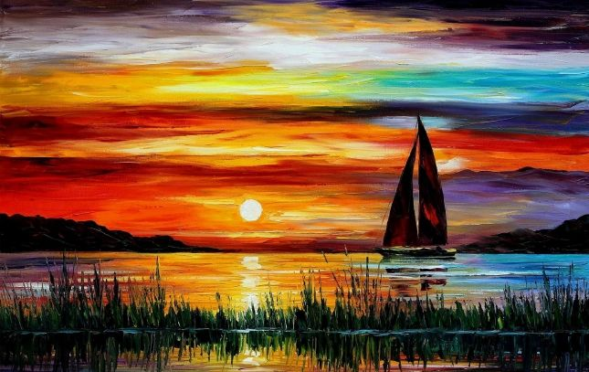 Boat sunset painting