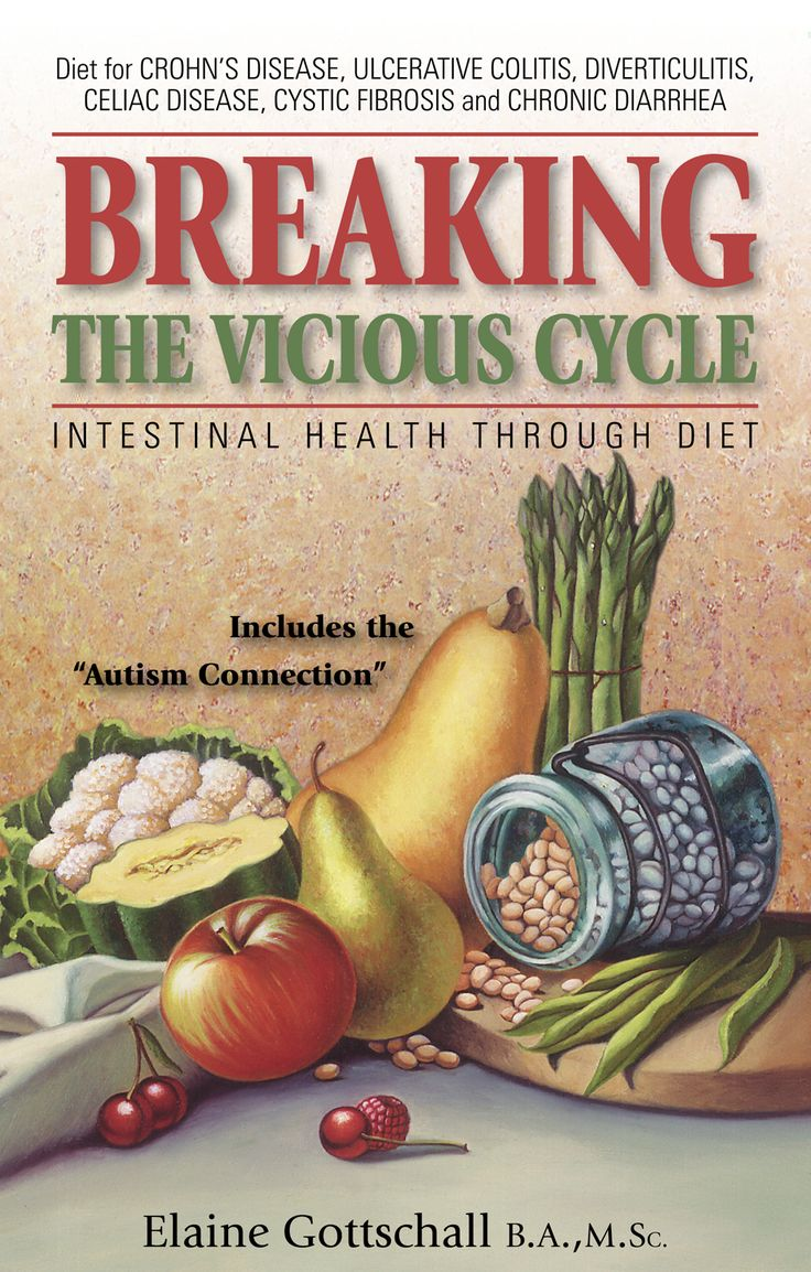Discover how so many have conquered Crohn's, IBS, Celiac Disease, and other intestinal problems. Spread the word. I have been following the advice in this book for two years. I am very thankful for the author, Elaine Gotschall. It is short and to the point, making it easy to read even if you prefer not too. Half the book is full of recipes. More info can be found online.