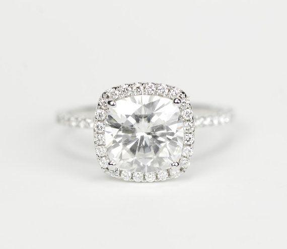 Absolutely breathtaking... love the dainty band & the little halo. So perfect!! 8mm  Enhanced Cushion Moissanite Diamond Ring 14K by SundariGems, $2470.00