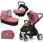 Poussette Trio Casualplay Kudu 4 nacelle Cot coque auto Baby 0 Zero Plus noir boreal rose - Collection 2016