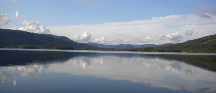 Mirror-like lake surface when the air is calm....
