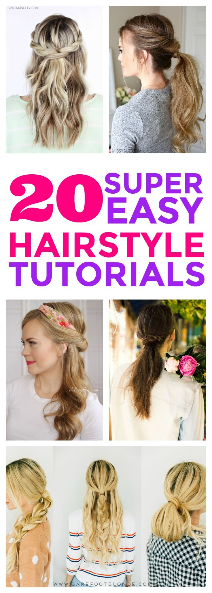 These easy hairstyles are so CUTE! I'm so happy I found these QUICK hair tutorials ! Now i have some great step by step hair ideas for work or school! Simple hair styles great for beginners! Definitely pinning!