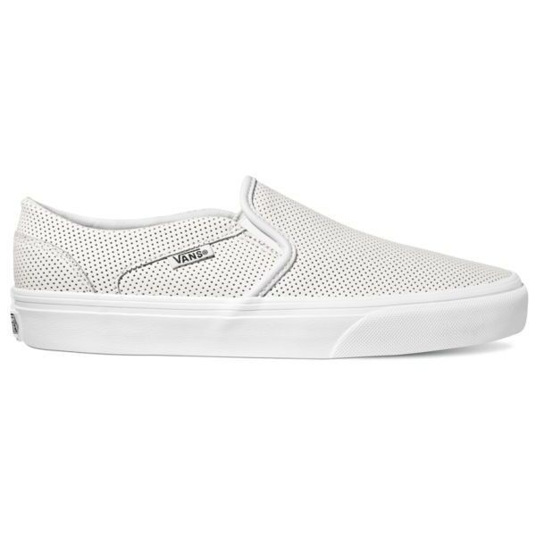Vans White Asher Perf Sneaker - Women's ($55) ❤ liked on Polyvore featuring shoes, sneakers, white, perforated leather sneakers, white slip on sneakers, leather slip-on shoes, slip on shoes and leather shoes