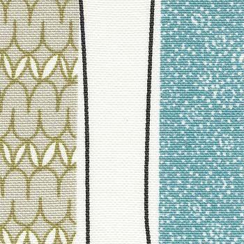 Halvpanama mønster i striper blå/grønn