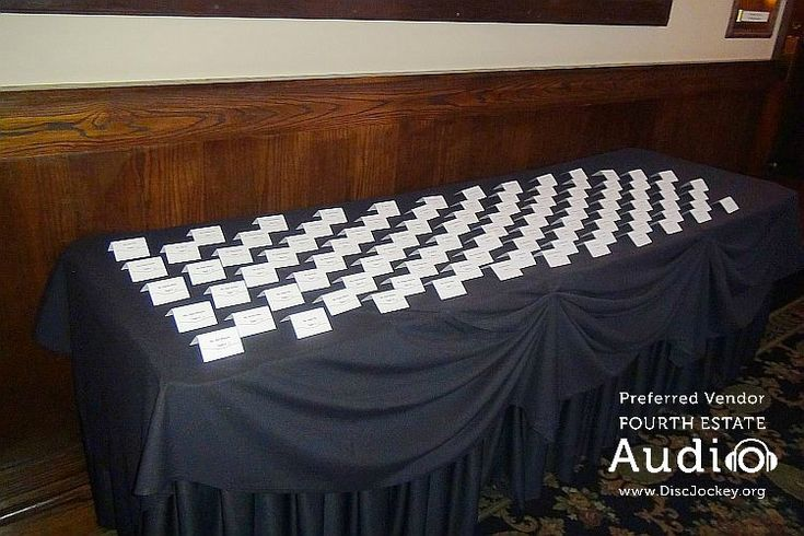 A table full of escort cards awaits the guests at another great wedding reception at Maggiano's in Schaumburg. http://www.discjockey.org/maggianos-schaumburg/