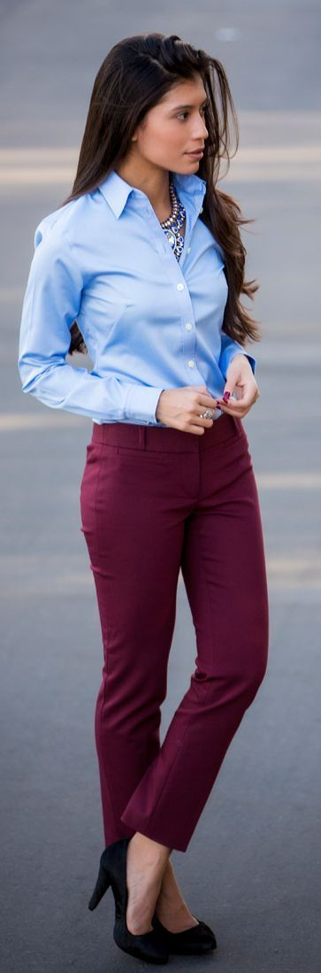 Wear burgundy trousers with a crisp button-up to work. Dress up the outfit with a statement necklace and pumps—try leopard for splash of print.