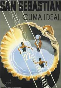 By Prieto, San Sebastian, Clima ideal. Vintage travel Beach poster art Deco #essenzadiriviera www.varaldocosmetica.it/en