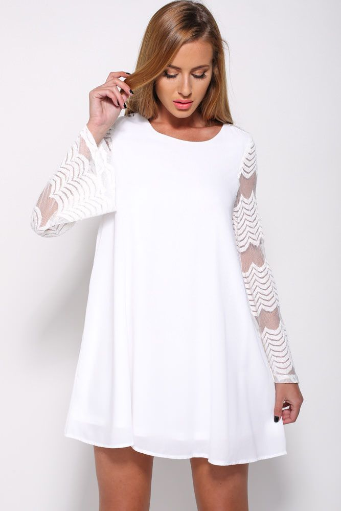 O Neck White Dress MAVERLLY