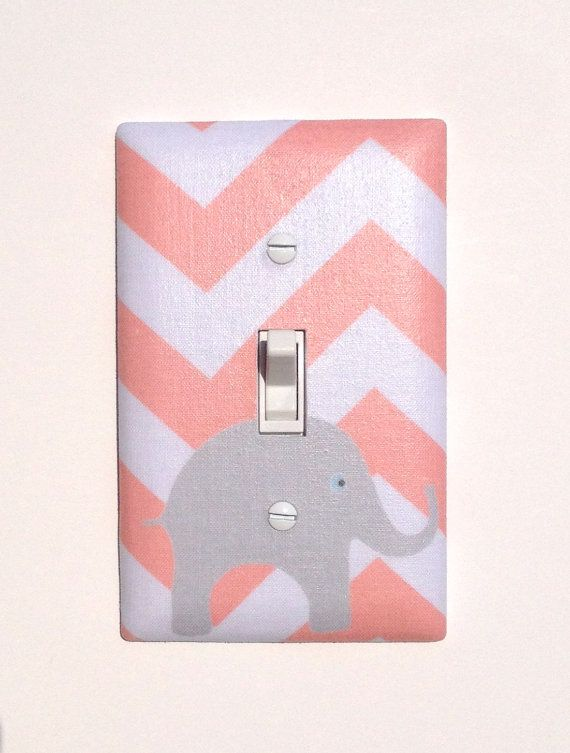 Gray and Peach Chevron Elephant Light Switch Plate / Light Coral Pink Baby Nursery Decor / Slightly Smitten Kitten on Etsy, $16.00