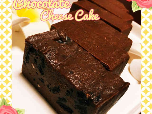 材料4つ♡簡単ザクザクチョコチーズケーキ チョコレート マシュマロ クリームチーズ  クッキー バレンタイン