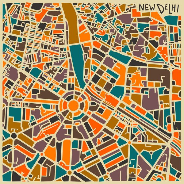 Jazzy Abstract Maps of Famous World Cities