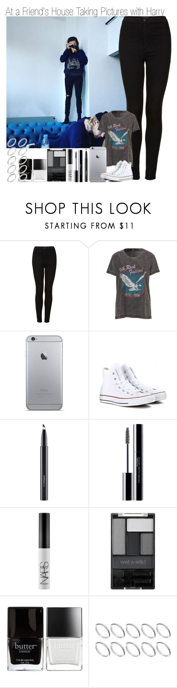 """At a Friend's House Taking Pictures with Harry"" by elise-22 ❤ liked on Polyvore featuring Topshop, Converse, MAC Cosmetics, shu uemura, NARS Cosmetics, Wet n Wild, Butter London and ASOS"