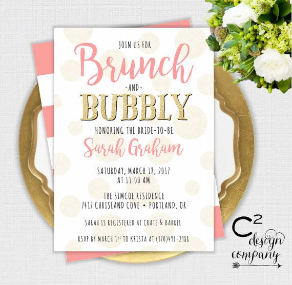 Brunch & Bubbly Coral Bridal Shower Invitation
