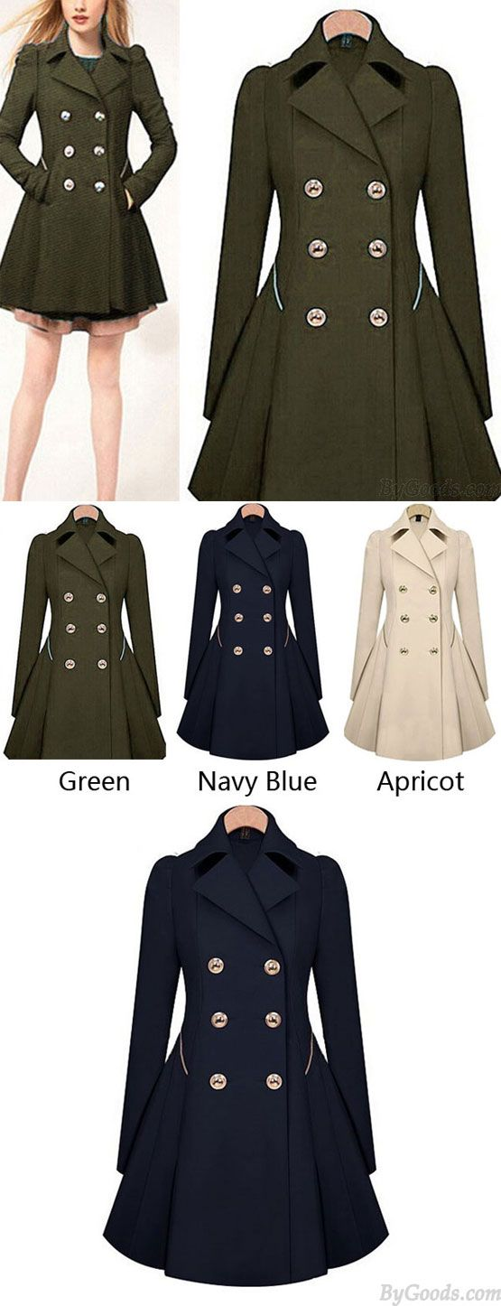 Women's Commuter Trench Double-Breasted Slim Bodycon Wool Jacket Coat for big sale !#women #wool #Jacket #coat