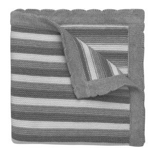 Grey stripe knitted baby blanket