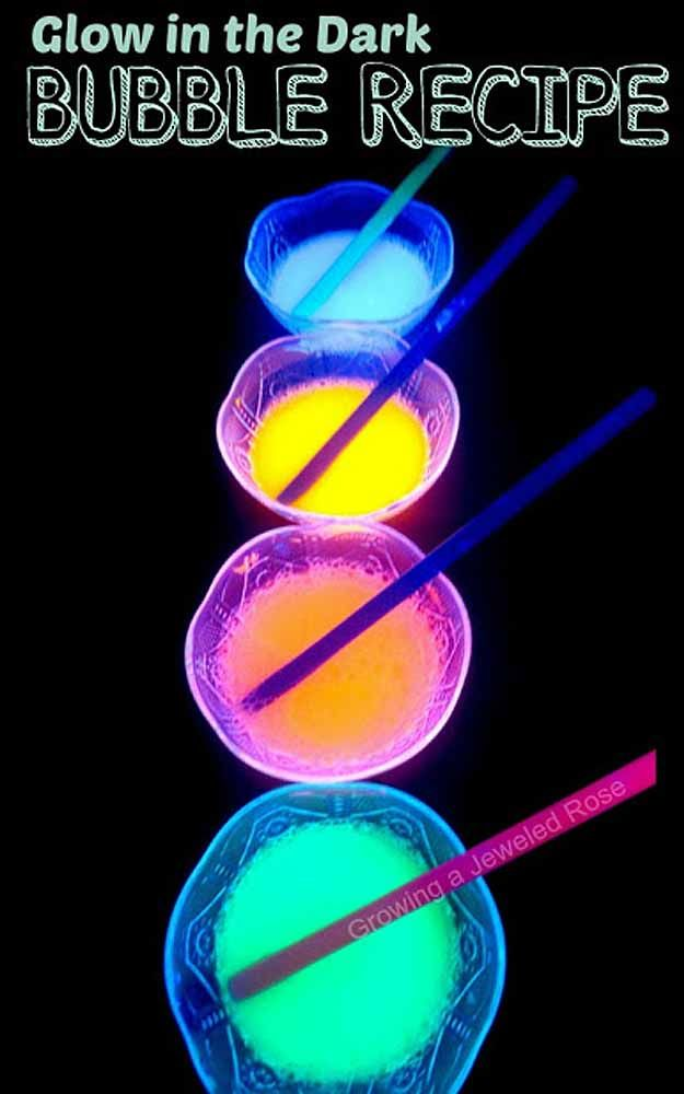 Outdoors DIY Kids Activities for a Party - Glow in the Dark Bubble Recipe - DIY Projects & Crafts by DIY JOY at http://diyjoy.com/fun-outdoor-crafts-for-kids