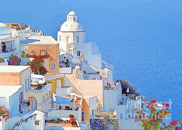 Santorini Island, Greece. Canvas print.