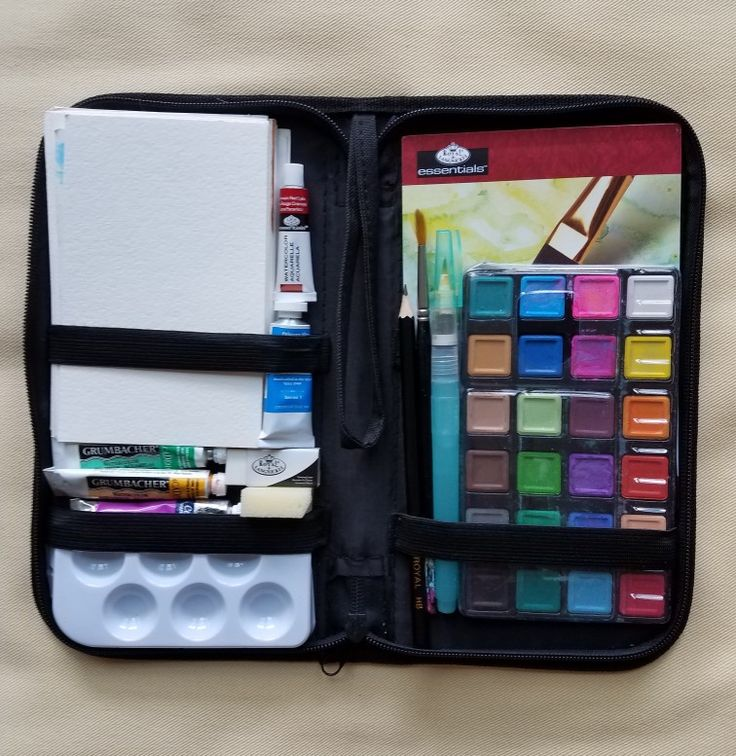 "Watercolor travel case. $9.99 at Joannes Fabric. 6"" by 11"". Revamped the inside a bit. Added my own watercolors, brushes and added several different weights of watercolor paper postcard size!"