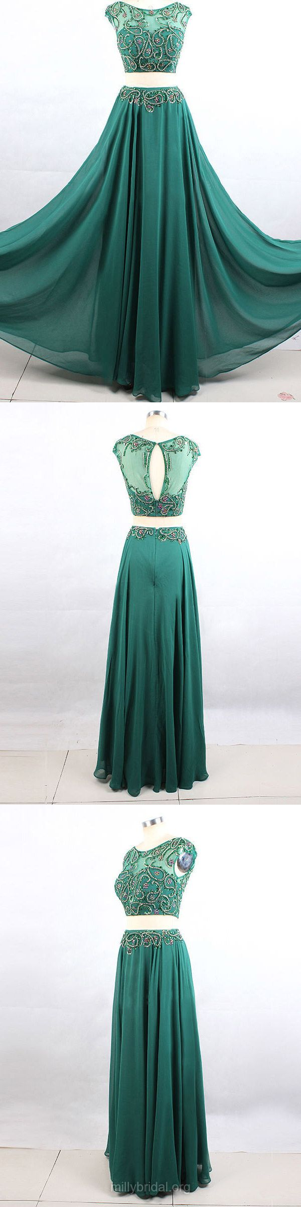 Two Piece Prom Dresses Green, Long Party Dresses A-line, Scoop Neck Formal Dresses Chiffon, Tulle Evening Dresses Beading