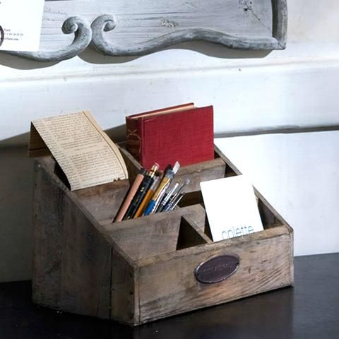 Rustic Wooden Desk Organizer with Compartments