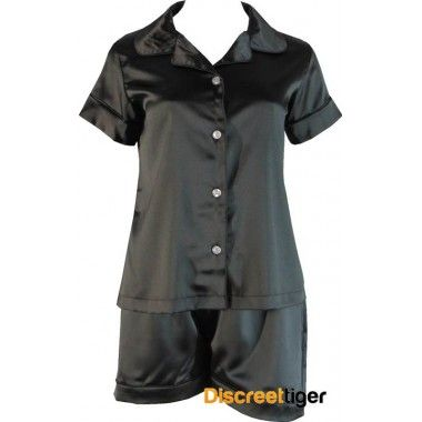 Dream the night away in these gorgeous black satin pyjamas. Button up shirt. Made in a generous loose fitting style, from premium quality material by Phialli Sleepwear.