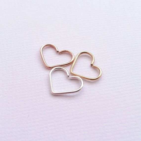 Heart Tragus Earring Solid Sterling Silver Gold by JCLDesigns