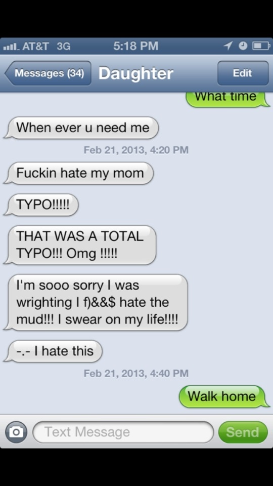 Epic Text-Daughter looses her ride.