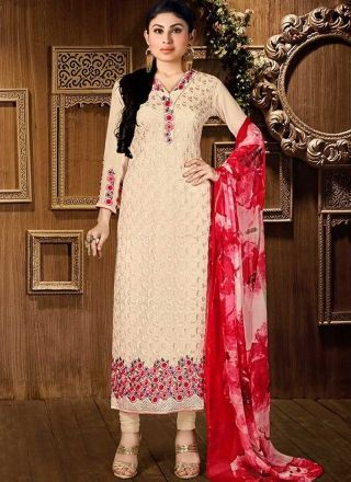 Mouni Roy Beige Red Embroidery Work Georgette Designer Print Churidar Suit http://www.angelnx.com/Salwar-Kameez/Bollywood-Salwar