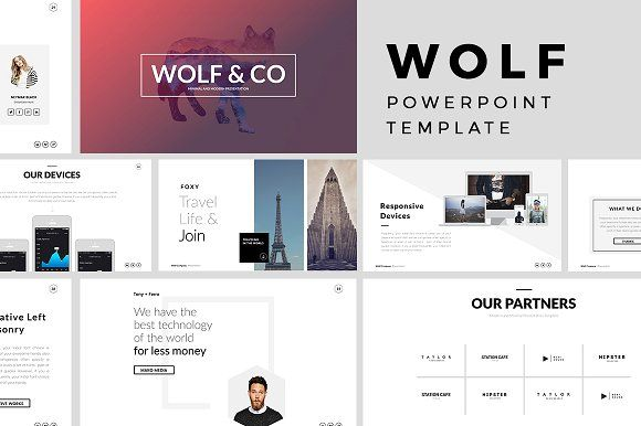 Wolf Minimal PowerPoint Template by Slidedizer on @creativemarket