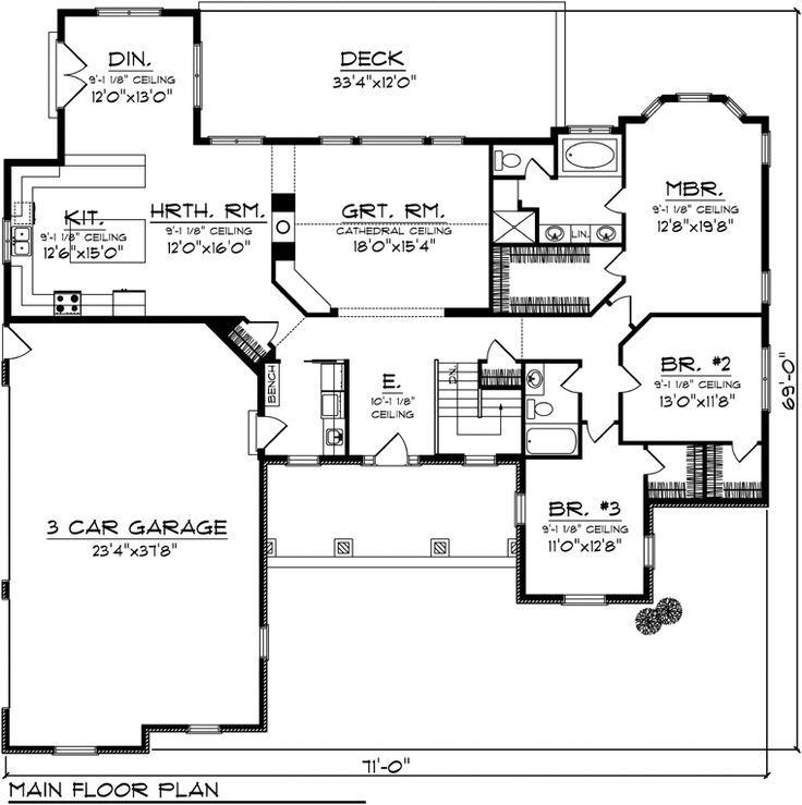 Country Ranch House Plan 73145