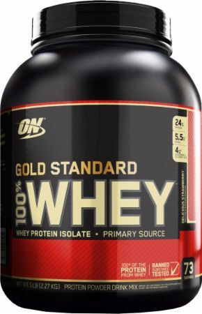 Optimum Nutrition Gold Standard 100% Whey Delicious Strawberry 5 Lbs. OPT029 Delicious Strawberry - 24g of Whey Protein with Amino Acids for Muscle Recovery and Growth*