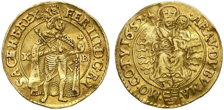 AV Goldgulden. Hungary Coins, Habsburg Rulers, Ferdinand III. 1637-1657. Kremnitz mint, 1652 KB. 3,44g. F 109. VF. Price realized 2011: 700 USD.