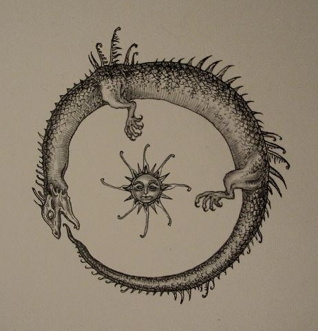 "The Ouroboros is an ancient symbol depicting a serpent or dragon eating its own tail. The name originates from within Greek language; (oura) meaning ""tail"" and (boros) meaning ""eating"", thus ""one who eats its tail"". The Ouroboros is the sign of constant motion, of vibration; creation and destruction around the illusion of finite and the realization of infinite ..."