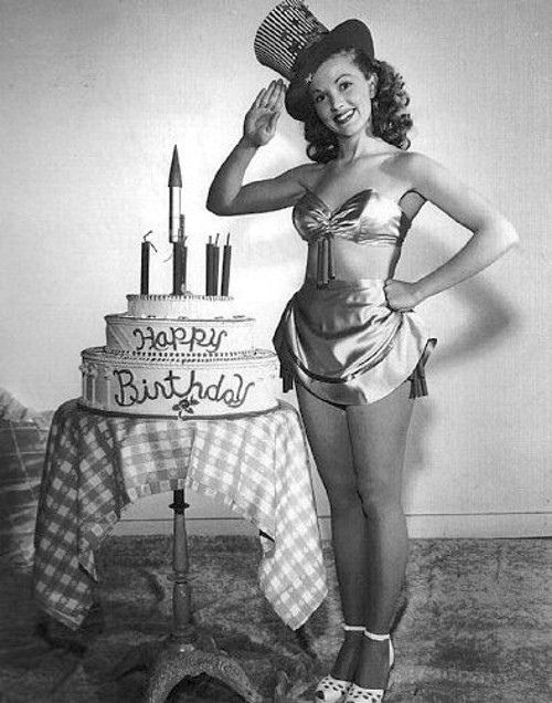 Phyllis Coats wishes America a very happy birthday. July 4 vintage pinup