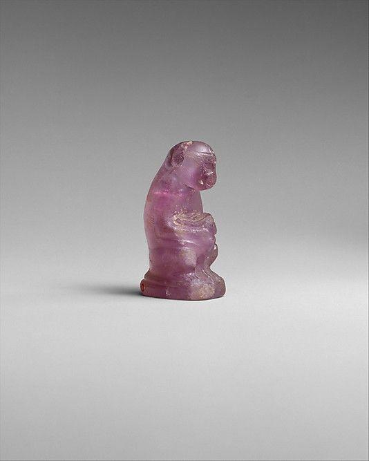 Female Monkey Holding Its Baby Period: Middle Kingdom Dynasty: Dynasty 12 Date: ca. 1981–1802 B.C. Geography: From Egypt Medium: Amethyst