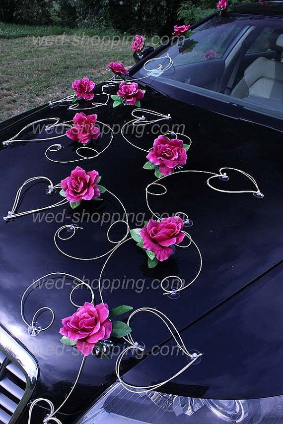 Burgundy roses and hearts   A set of decoration consists of:   24 developed roses with leaves (on front, back and sides of the car)   12 rattan