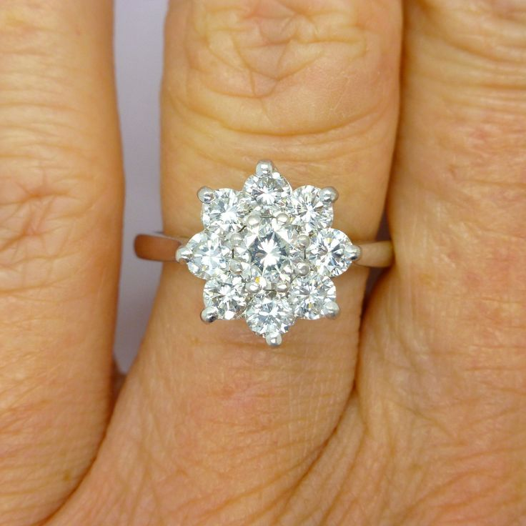 vintage cluster english ring vintagejewelbox estate halo pinterest antique dinner on engagement cocktail gold diamond flower or daisy reserved best marina white images rings wedding