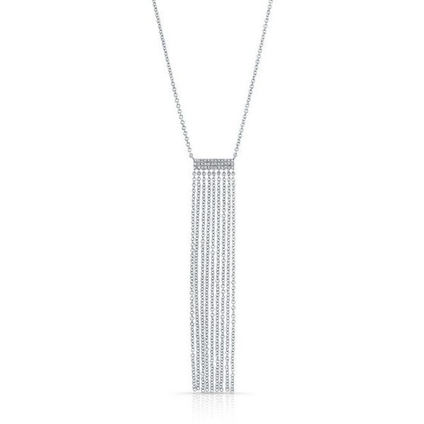14kt white gold diamond temptress necklace ($729) ❤ liked on Polyvore featuring jewelry, necklaces, white gold chain necklace, white gold diamond jewelry, adjustable chain necklace, chain tassel necklace and white gold jewelry