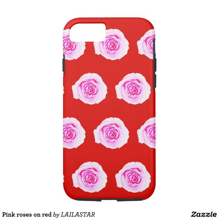 Rosas cor-de-rosa no vermelho capa iPhone 8/ 7
