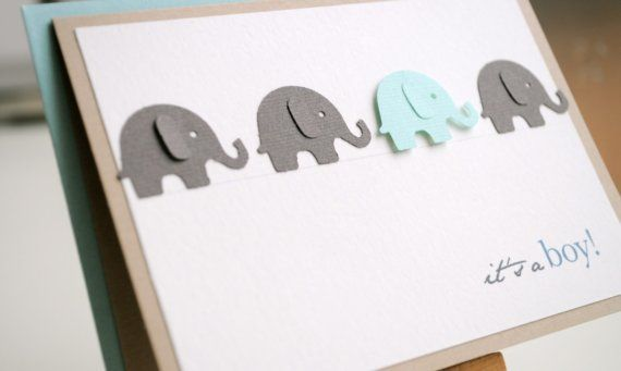 Welcome baby card - elephant (boy) - Reserved listing for DeeTree67