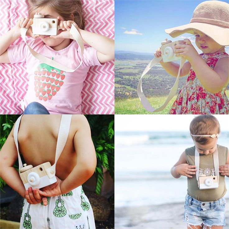 Baby Kids Cute Wooden Toy Camera Xmas Gift Kids Creative Neck Camera Photography Prop Decor Toy Cameras